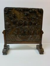 Antique Chinese Carved Hard Stone Table Screen, Qing Dynasty, Wooden Stand