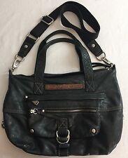 Fossil Large Vintage Black Leather Satchel Bag Purse 2 straps
