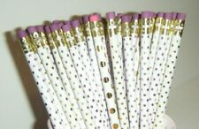 LOT of 50 Pencils NEW White Gold Pink Polka Dots Metallic School Office Supplies