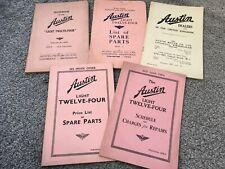 Austin Light Twelve-Four Handbook, Spare Parts, Repair & Dealer Booklets 1935