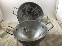 "Vintage Farmhouse Footed 11"" & 9"" Aluminum Colander Strainer 7 Stars"