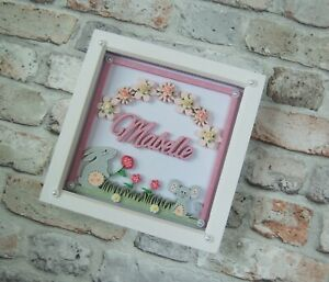 Personalised Name Box Frame New Baby Girl Gift, Christening, Birthday, Nursery