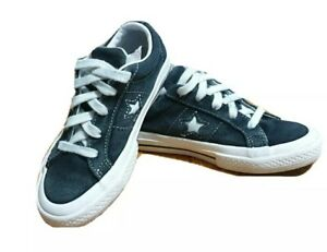 Converse Black Suede one star boys teen junior sneaker lace up shoes size US 12
