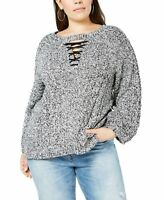 Love Scarlett Womens Sweater Black Size 1X Plus Lace-Up Marled Pullover $88 207