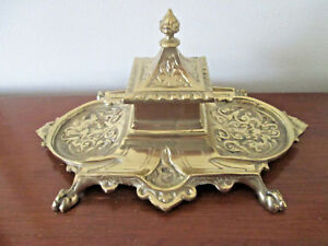 antique PAW FOOTED INKWELL Art Nouveau GOLD FINISH on BRASS