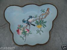 China Antique butterfly shape Cupper Colored enamel Flowers Birds Plate