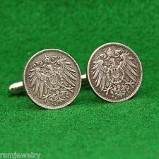 German Empire Imperial Eagle IRON Coin Cufflinks, 5 Pfennig Germany Reichsadler