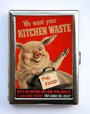 Pig Food War Poster Cigarette Case Wallet Business Card Holder ww2