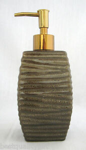 SPRECKLED BROWN+BEIGE,TAUPE CERAMIC SOAP,LOTION DISPENSER+GOLD,COPPER COLOR PUMP