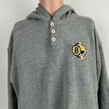Starter Boston Bruins Henley Hoodie Sweatshirt Vtg 90s NHL Hockey Size Large