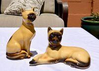 Ceramic Siamese Cat Figurine Made in Brazil - Set of 2