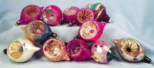 12 Vintage Glass Christmas Ornaments 11 Indents 1 Lantern Poland Mercury #51