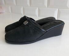Brighton Ilsa Clogs Mules Black Suede Wedge Heel Size 7 Excellent Condition!