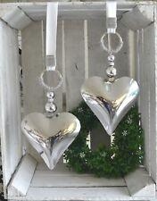 Fensterdeko  Edelstahlherz Perlen, Strassbeat  15x15cm weiß/silber