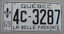"""1969 QUEBEC PASSENGER  LICENSE PLATE """" 4C 3287 """" QU  LA BELLE PROVINCE CANADA"""