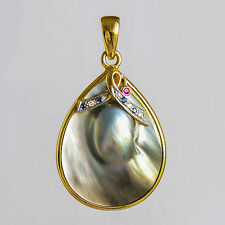 ABROLHOS MABE PEARL PENDANT REAL 18K GOLD NATURAL RUBY SAPPHIRES  DIAMONDS NEW
