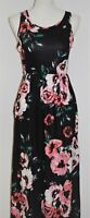 Womens Maxi Dress Size S Sleeveless Fit and Flare Black Pink Floral Rose