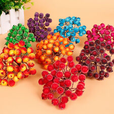40pcs Christmas Frosted Fruit Berry Holly Artificial Flower Home Tree Decor,