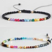 Women Men 12 Constellation Lucky Stone 3mm Beads Bracelet Boho Chakra Bracelet