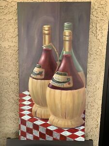 "DEBRA OZELLO Original Oil Painting 15x30 ""Tre Bottiglia"" Gallery Wrap"