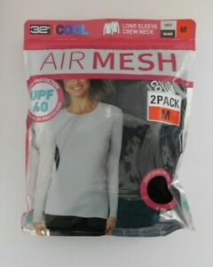 32 Cool 2 Pack Ladies Long Sleeve Air Mesh  Top Size MEDIUM Black Gray NEW