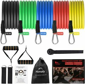 12Pieces Resistance Bands Set Pull Rope Home Gym Equipment Yoga Fitness Exercise