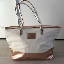 VICTORIAS SECRET Beige Canvas Rose Gold Tasche Tote Bag Shopper