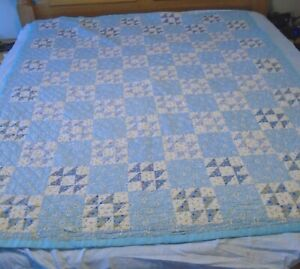 """Hand Quilted Patchwork Vintage Feed Sack Style Print Quilt in Blues 70 x 80"""""""