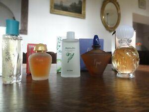 5 miniatures. yves rocher. cléa. 8 jou. muguet des bois. rose ispahan. folies