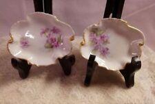 "A Vintage Set of ""2"" Lilac Limoge Dishes, France,Gold Gilt, Excellent Condition"