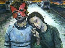 "Original painting""Desperation"" by Qi Debrah,Surrealism,Framed,Size16""x20"",Signed"