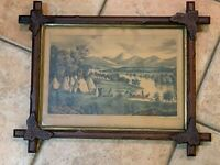 ANTIQUE HASKELL & ALLEN WESTERN SCENERY AMERICAN INDIAN LITHOGRAPH WOOD FRAME