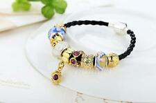 Popular 925 Gold Leather Charm Bracelets & Bangles With Murano Glass Beads AU