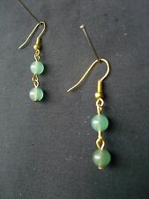 E257 2 AVENTURINE MEDIUM ROUND BEADS ON GOLD PLATED WIRE & EARWIRE EARRINGS NEW