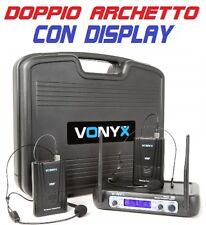 COPPIA RADIOMICROFONI MICROFONI ARCHETTO WIRELESS VHF HEADSET TEATRO RECITE new