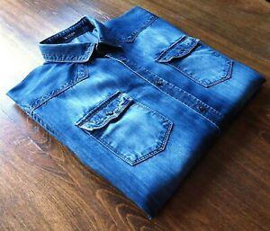 Tiger of Sweden size L/42 Slim Fit Men's Western Jeans Shirts Faded Indigo Blue