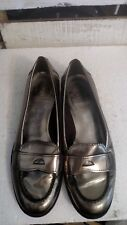 TORY BURCH Metallic Pewter Silver Leather Penny Loafer reva Logo Heel Sz 7M