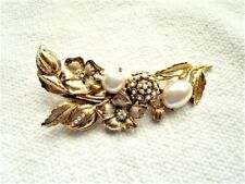 Vintage Authentic Signed Oscar DeLa Renta Flowers Pearls Rhinestone Large Brooch