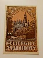 MALCHOW REUTERGELD NOTGELD 50 PFENNIG 1922 NOTGELDSCHEIN (10815)