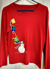 Ugly Christmas Sweater Women Onque Casuals Women's Red Size Medium-Snowman