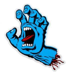 Santa Cruz screaming hand sticker blue or bone hand FREE J&J'S STICKER