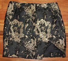 Women's Black and Gold Wool Blend Skirt - Nicholas - Size 8