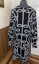 Lanvin Paris N.Y. Vintage Mod Print Black White Dress Womens 10/12