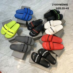 For Balenciaga Slippers First Layer Cowhide Upper 3D Printed LOGO Slippers