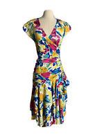 Vintage Caleche By Colette Foubert 70's Floral A Line Half Wrap Dress Sz 10