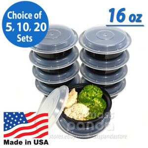 """Pactiv 16 oz Plastic 6"""" Round Meal Prep Food Containers with Lids, Made in USA"""