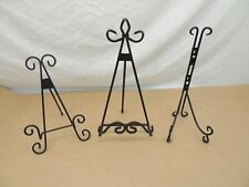 Wrought Iron Plate Display Stands, Lot Of 3