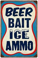 Vintage Retro Beer Bait Ice Ammo Metal Sign Unique Garage Shop Wall Decor RPC253