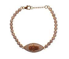 NWT $250 NIALAYA Women's Hamsa Eye Gold Plated Red CZ 925 Silver Bracelet s. S