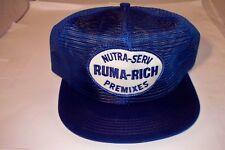 Vintage Nutra-Serv Ruma-Rich Premixes Farm Cattle Feed Snapback Hat Nice!!